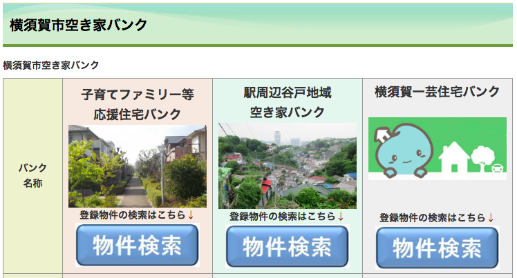 横須賀の空き家バンクのサイト
